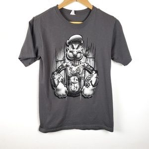Hybrid | Gray Tattooed Popeye Graphic Tee Small